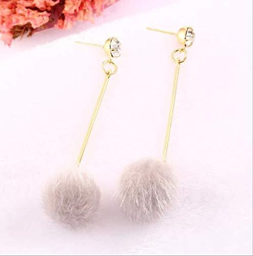 Oorbel bengelen rood zwart pluche bal oorbellen voor vrouwen fluweel ronde kwast lange bengelen oorbellen cadeau sieradene0442gray