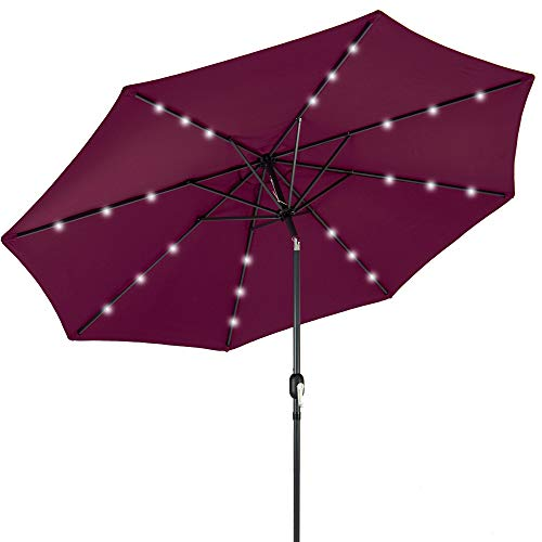 Best Choice Products 10ft Solar Powered Aluminum Polyester LED Lighted Patio Umbrella w/Tilt Adjustment and Fade-Resistant Fabric, Burgundy