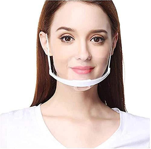 PANHU - 10 Stück klares Kunststoff-Halbgesichtsvisier für Gesichtsschutz, elastisch, komfortabel, Mundschutz für Chef Snack Bar Küche Restaurant Üblich