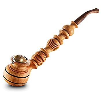 Impressive Wooden Tobacco Smoking Pipe With Cap - Handmade From Natural Walnut Wood - Detachable - 28 cm Long - Color May Vary