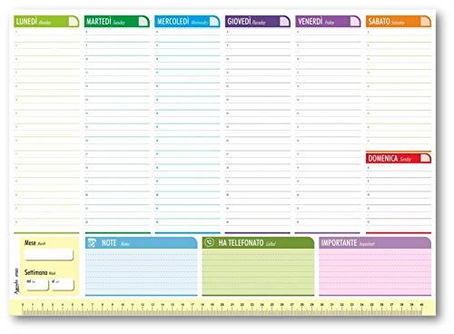 Planning 43x31 perpetuo 7COLORS da tavolo BILINGUE (55 fogli) agenda da tavolo senza data