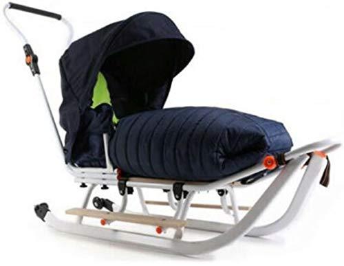 Premium Plus Line NAVY Edition 2021 - Trineo infantil para nieve (3 en 1, con ruedas y manguitos)