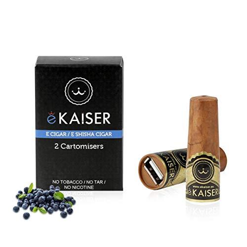 eKaiser cigare électronique Pack 2 Cartomizer | Saveur Blueberry eCigar E shisha à usage unique 30/70 VG/PG Saveurs sans nicotine | 700 PUFFS pour eKaiser USB cigare | Rechargement Cloud Chaser Vape