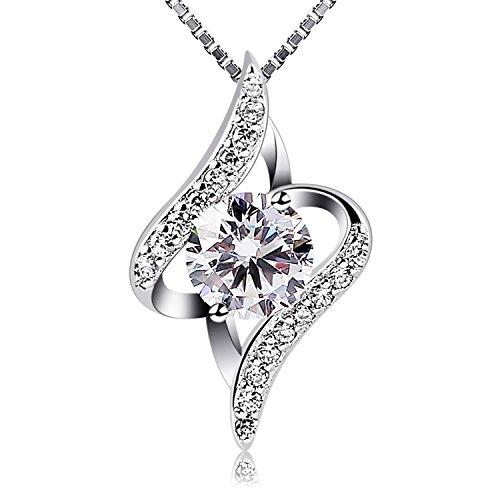 B.Catcher Women Necklace 925 Sterling Silver Gift Idea Necklace Cubic Zirconia Pendant, 18'