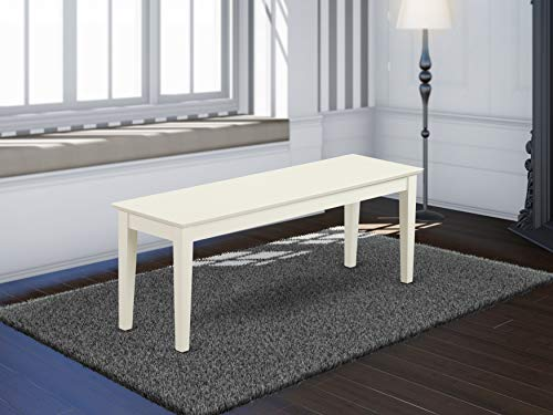 Capri bench with wood seat in Linen White