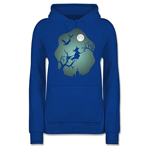 Halloween - Hexe Mond Grusel Grün - M - Royalblau - Geschenk - JH001F - Damen Hoodie und Kapuzenpullover für Frauen