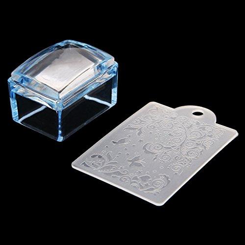 Haptian nieuwe rechthoek siliconen nagel Stamper met schraper stempelen afdrukken Manicure Tool