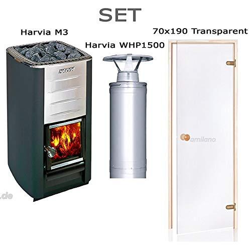 Harvia M3 mit BImSchV + Harvia WHP1500 + Saunatür ST 70x190 Transparent, Rahmenmaterial: Espe