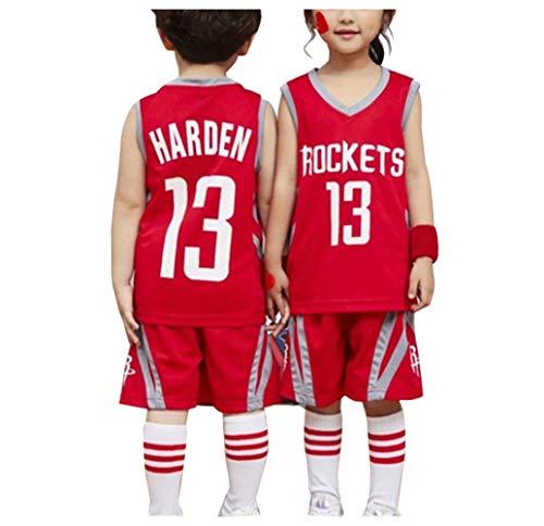 Harden Rockets # 13 Basketball Jersey Boy Girl, 2-teiliges Top und Shorts Set Unisex School Student Sportswear ist locker Girl Kids Students Suit-red-XXS