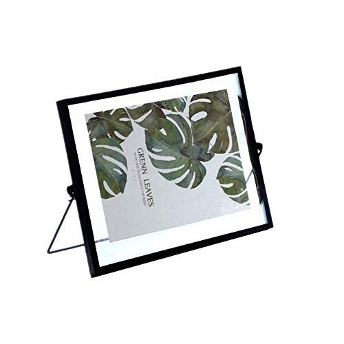 Leoyoubei Hand-Made,Simple Vintage Style and Glass Photo Frame Collection Metal Geometric Picture Frame, Metal Floating Desk Vertical Frame 5x7-6x8 Photo Display (Horizontal-Black)