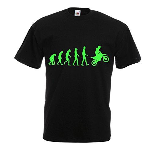 lepni.me Camisetas Hombre evolución del Motocross, Camisa de la Motocicleta, Desgaste de Las Carreras de Motos, Moto de Carretera (Medium Negro Verde)