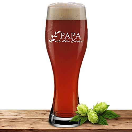 Weizenglas mit Gravur Bester Papa, Bierglas 0,5l, individuelles Geschenk, personalisiertes Weißbierglas, Motiv Zweig Papa ist der Beste