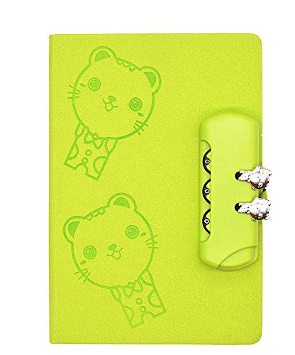 JunShop Creative Lock Diary Student Notebook Cute Girl Writing Diary Locking Journal Teen Personal Privacy Notebook 150 Pages Green