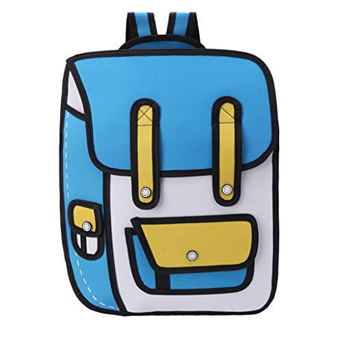 JERKKY Dibujo en 2D con Estilo de Salto en 3D de una Mochila de Papel de Dibujos Animados Bolso Bandolera Comic Bookbag Sky Blue