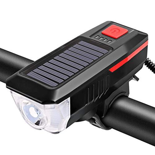 Sidougeri Luces solares para bicicleta, luz solar para bicicleta de bicicleta luces delanteras de bicicleta recargable por USB, luz frontal de bicicleta, linterna impermeable para bicicleta