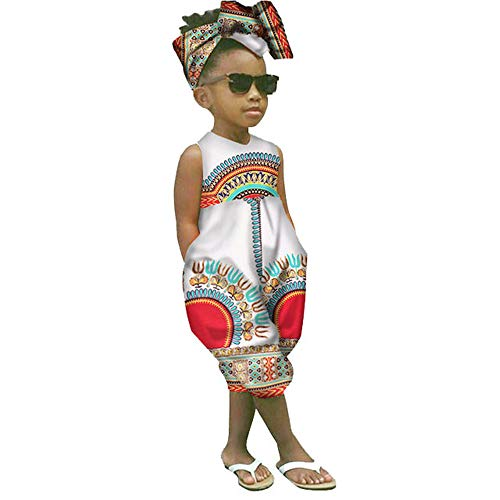 WOCACHI Toddler Kid Baby Girls African Print Sleeveless Romper Hair Band Jumpsuit Clothes 2021 Summer Under 5 Dollars New Deals Sales Bargains