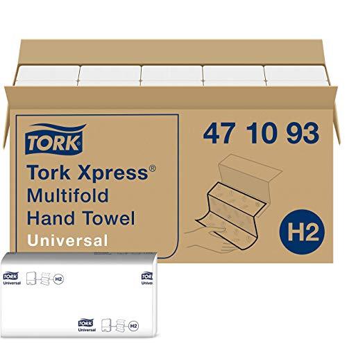 Tork Xpress Essuie-mains interfoliés - 471093 - Papiers d'essuyage pliés en Z, qualité Universal pour Distributeur H2 - Essuie-mains papier, 1 pli, blanc - 20 x 250 feuilles