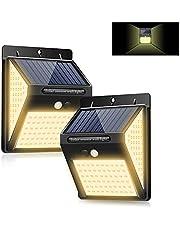 暖色系 LED ソーラーライト センサーライト 3面発光 屋外照明 人感センサー 3つ点灯モード 防水 防犯ライト 両面テープ付き 自動点灯 太陽光発電 ガーデンライト 屋外/玄関/壁掛け/庭先/駐車場などで活躍 電球色 2個セット