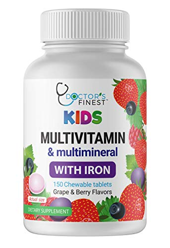 Doctors Finest Multivitamin & Multimineral w/ Iron Chewables for Kids – Vegetarian – GMO Free & Gluten Free – Great Tasting Grape & Berry Flavors Pectin Chews w/ Vitamins A, B, C, D & E – 150 Count