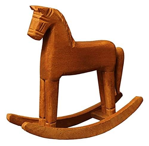 WQQLQX Statue Hölzerne Pferd Ornamente Handgeschnitzte Skulpturen Holz Statuen Kinderspielzeug Wohnaccessoires Outdoor Pastoral Ornamente Figuren Skulpturen