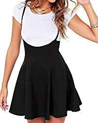 YOINS women solid mini skater skirt basic casual flared suspender skirts summer tennis school short pleated skater is great for womens, ladies and young girls. Features: Adjustable straps design, High-rise/elasticated waist, Zip to fastening, Flounci...