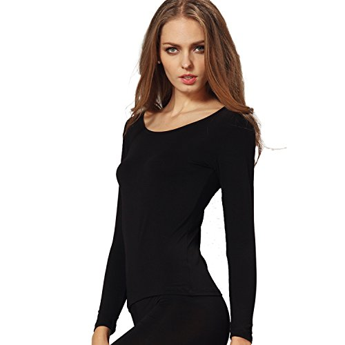 Liang Rou Women's Scoop Neck Long Sleeve Ultrathin Modal Thermal Underwear Shirt/Top Black Medium