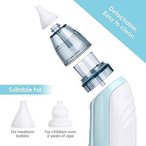 INTEY Nasal Aspirator Nasensauger sicherer und schneller sowie hygienischer Nasenschleimentferner mit Musik & Licht 3 Betriebsstufen & 2 Größe für Neugeborene & Kleinkinder - 5