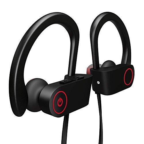 QueenDer Auriculares Bluetooth, Auriculares Inalámbricos Deportivos Correr con Micrófono In-Ear Gancho Resistentes Portátil Cancelación de Ruido, Gimnasio/Viajes/Deporte para iPhone Android
