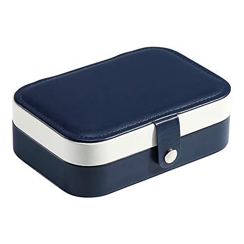 tggh Joyero portátil de viaje de piel sintética para joyas, organizador de pendientes, collar, anillo, caja de embalaje (color: azul marino)