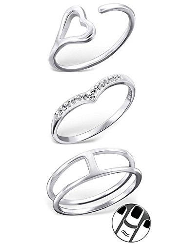 ICYROSE 925 Sterling Silver Set of 3 Heart, Pointed Crystal, Double Open Above Knuckle Ring Mid Finger Top