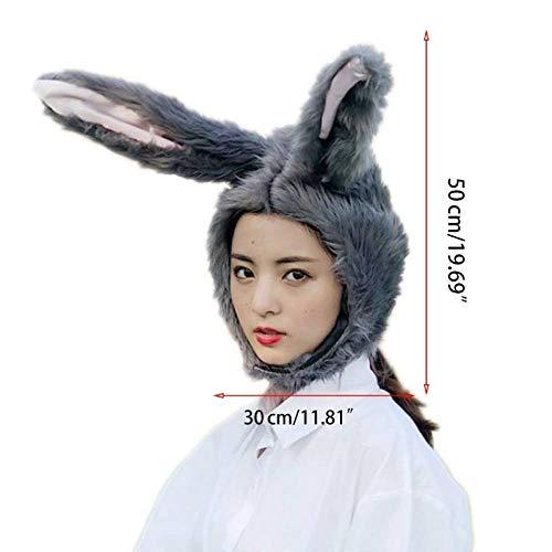MYYLFF Bonnet Tricoté,Fluffy Bunny Ears Long Peluche Animaux Lapin Hat,Pâques Halloween Costume Cosplay Accessoires Photo Cosplay Costume Party,Jouets Accessoires Photo