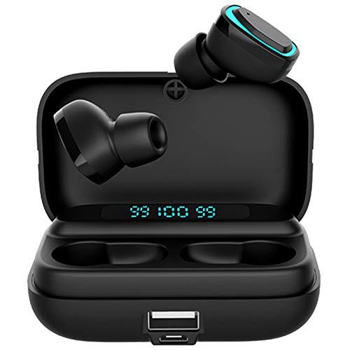 OUJIN Auriculares inalámbricos Bluetooth 5.0 con funda de carga inalámbrica TWS estéreo en el oído con micrófono integrado, sonido premium con graves profundos para deporte
