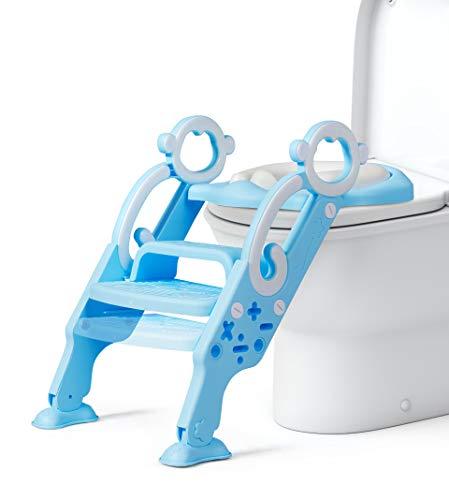 DREAMADE Kinder Töpfchentrainer Toilettensitz mit Treppe, Toilettentrainer Lerntöpfchen Sitz mit Leiter, rutschfeste Trainingstoilette Kindertoilette mit 2 Armlehnen für Baby klein Kind (Hellblau)