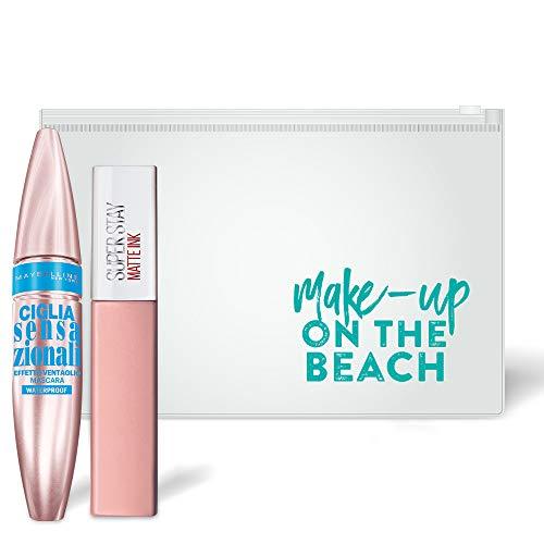 Maybelline New York Pochette Edizione Limitata Make Up on the Beach, con Mascara Ciglia Finte Waterproof Effetto Ventaglio e Rossetto Liquido a Lunga Durata, Matte Ink 5 Loyalist