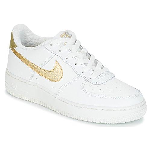 Nike Nike Mädchen Air Force 1 (GS) Basketballschuhe, Schwarz/Rosa/Weiß (Schwarz/Vivid rosa-weiß), 36,5 EU