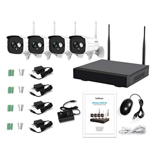 Kongqiabona-UK 4Ch Nvr Wireless Wifi Ip Network Kit de cámara de vigilancia de seguridad para interiores y exteriores, materiales sintéticos, negro, UK