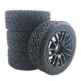 SunniMix 4 unids/Set plástico Duro 28mm RC Car Llantas y Llantas 12mm neumático Hexagonal para HSP Tamiya HPI Kyosho 1/10 RC Car - Negro