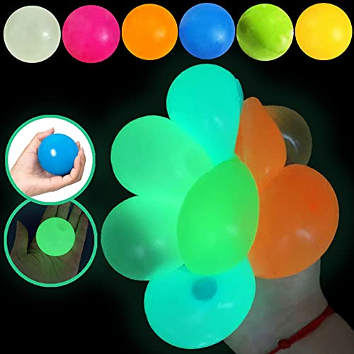 6Pcs Glow Stress Relief Balls Sticky Ball - Ceiling Luminescent Stress Relief Toy Fluorescence Decompress Sticky Ball, Squeeze Ball Fun Toy for Kids and Adult Fun Toy for ADHD, OCD, Anxiety