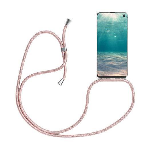Ptny Case Funda Colgante movil con Cuerda para Colgar Xiaomi Redmi 5 Plus Carcasa Correa Transparente de TPU con Cordon para Llevar en el Cuello con Ajustable Collar Cadena Cordón en Oro Rosa