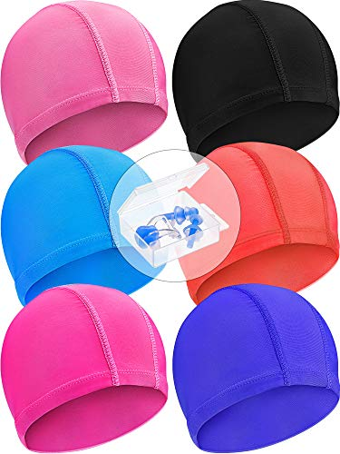 Geyoga 6 Pieces Swim Caps Lightweight Swimming Caps with Nose Clip and Ear Plugs Suitable for Kids, Women, Men While Swimming