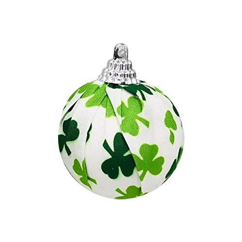 Moent 1 bola de tela de trébol irlandés, día de San Patricio verde trébol de la decoración de la bola, festival de Año Nuevo fiesta temática adornos suministros