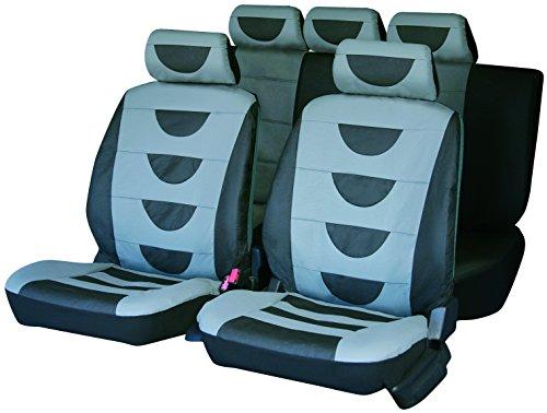Carfactory - Juego de fundas de asiento para coche universales, modelo POLIPIEL, color Gris, 9 piezas.