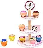 Kaufladen Zubehör Holz Kuchen kaufmannsladen Zubehör Lebensmittel Muffin Cupcake Ständer Holzspielzeug für Kinderküche Teeservice Kaufmannsladen Einkaufsladen Geschenke für Mädchen Spielzeug 3+ Jahre