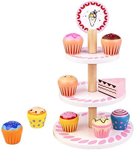 jerryvon Torte Giocattoli Set Cucina Bambini Cibo Giocattolo per Bambini Alzata per Torta a 3 Livelli Dessert in Legno...