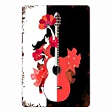 CIKYOWAY Carteles de metal Hermoso vestido de niña española Volantes Rosas Abanico Baile Flamenco Guitarra grande sobre fondo blanco y negro, Cartel de chapa Pintura de hierro para pared Decoración d