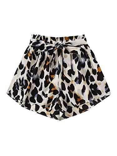 DIDK Damen Locker Shorts Elastischer Bund Casual Sommerhose Sommer Short Kurz Hose mit Schleife Gürtel Leopard M