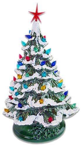 Starry Night 15' Lighted Ceramic Christmas Tree (15', Green with Snow)