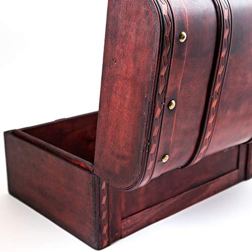 Schatztruhe Caribe – Kiste mit Schloss und Schlüssel – Holztruhe, Schatzkiste 28x19x15cm groß – Ideal als Geschenkebox für z.B. Hochzeit und Geburtstag - 5
