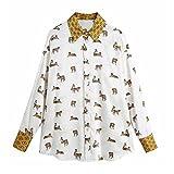 Spring Mujeres Imprimir Cuello Turndown Suete Satin Shirt Femenino Manga Larga Blusa Casual Lady Tops (Color : As pic, Size : Large)