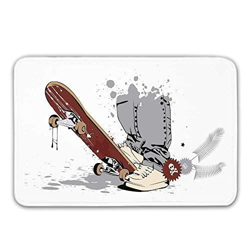 Alfombra de entrada de goma antideslizante para decoración de habitaciones para adolescentes, patineta con pies de niño en zapatillas de deporte y jeans Ilustración Tapete para puerta principal
